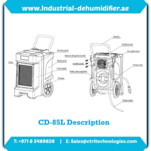 Product schematic of CD-85L Industrial dehumidifier