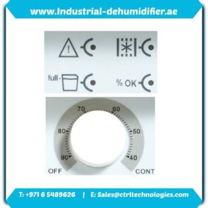 Operating panel of DH series dehumidifier in Abu Dhabi.
